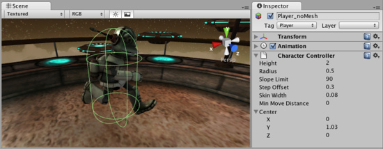 Capsule collider used to approximate a character's form in Unity