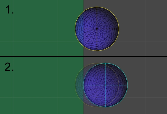Two frames demonstrating the collision being detected, and then resolved