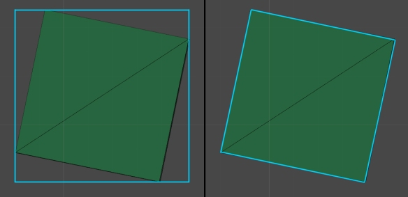 Axis-aligned bounding bound on the left, with object-oriented on the right