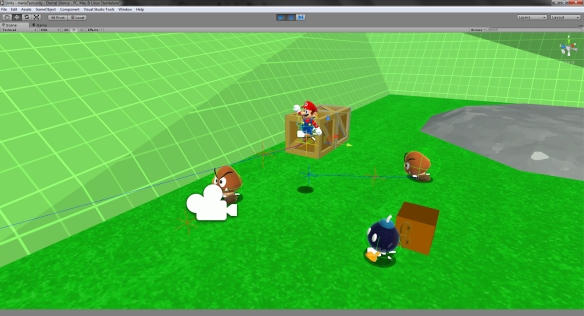 Editor shot of the same scene as above. SuperCharacterController with three debug spheres enabled on Mario.